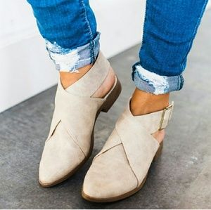 Shoes - TAUPE ANKLE WRAP BUCKLE FLATS SHOES STRAP BOOTIES